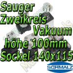 Schmalz Sauger 2-Kreis Vakuum 100mm 140x115mm