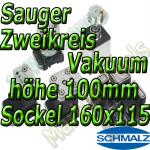 Schmalz Sauger 2-Kreis Vakuum 100mm 160x115mm