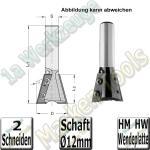 15° Wendeplatten-Grat- und Zinkenfräser Ø 28mm x26x70mm Z=2 S=12mm