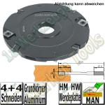 10mm Wendeplatten Nutfräser Z4 V4 Handvorschub Ø150 x10mm x30mm ALU