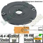 12mm Wendeplatten Nutfräser Z4 V4 Handvorschub Ø125 x12mm x30mm Stahl
