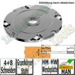8mm Wendeplatten Nutfräser Z4 V8 Handvorschub Ø180 x8mm x30mm Stahl