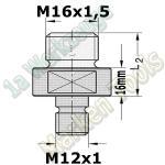 Adapter für Scheer Oberfräse Gewinde M16x1,5 / Gewinde M12x1 L2=33mm