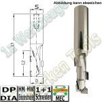 DP Dia CNC-Schaftfäser  16mm x43x105mm Z1+1 Entry25 Schaft 16mm HM HW Einbohrschneide