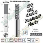 GFK Schaftfräser VHW VHM Pyramidenverzahnung mittel Ø10x30x72mm Dia beschichtet