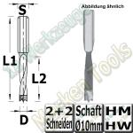 HM Dübelbohrer Dübelochbohrer Moskito Ø10mm x25x57,5mm Z2+V2 Schaft 10mm