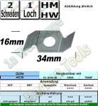 HM HW Nutmesser Z2 34mm x 16mm x 3,2mm Nutbreite HC35 VE=2 Stück