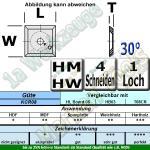 HM Wendemesser HW 14 x 14 x 2 mit Senkung für M5 d=6,4mm (Vorschneider) 30° d=6,4 KCR08 10 Stück