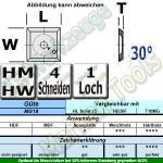 HM Wendemesser HW 14 x 14 x 2 (Vorschneider) 30° d=6,5 T10MG 10 Stück