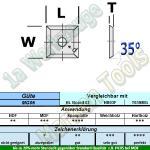 HM Wendeplatte Wendemesser HW 12 x 12 x 1.5 Z4 35° 1 Loch MG06 10 Stück