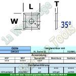 HM Wendeplatte Wendemesser HW 12 x 12 x 1.5 Z4 35° 1 Loch SMG02 10 Stück
