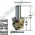 HM Wendeplatten-Spiralmesserkopf Ø 80 x80x125mm SET Schaft Ø25mm