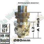 HM Wendeplatten-Spiralmesserkopf Ø 80mm x130x175mm SET HSK63F