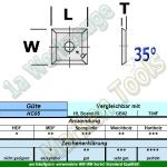 HM Wendeplatte Wendemesser HW 10.5 x 10.5 x 1.5 Z4 Typ1 35° d=4mm HC05 10 Stück