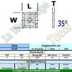 HM Wendeplatte Wendemesser HW 17 x 17 x 2mm d=3mm 35° Z4 T04F 10 Stück
