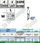 HM Wendeplatte Wendemesser HW 21 x 21 x 5.5mm d=7,4mm Z4 40°  MG18 10 Stück
