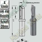 JSO Holz Wendeplattenfräser Ø 8mm x20x60mm Z1 HM HW Schaft 8mm