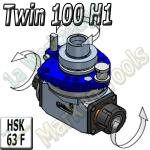 HSK63F Winkelgetriebe Twin mit 2 Ausgängen Sageblätter-Fräser, Fräser-Fräser H1 Ausführung 100mm