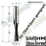 HW HM Dübelbohrer Dübelochbohrer Ø 8mm x30x57mm Schaft 8mm für Oberfräse geeignet