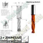 HW HM Dübelbohrer Dübelochbohrer Ø 10mm x27x57.5mm Z2+V2 Schaft 10mm L.