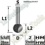 Kugelfräser Ø 12.7mm x11.6x43mm Z2 HM HW Schaft 8mm