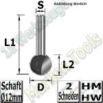Kugelfräser Ø 15.9mm x14.4x54mm Z2 HM HW Schaft 12mm