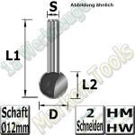 Kugelfräser Ø 19.05mm x18.2x57mm Z2 HM HW Schaft 12mm