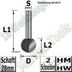 Kugelfräser Ø 9,5mm x8,3x40mm Z2 HM HW Schaft 8mm