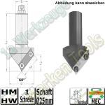 60° Wendeplatten-Fase-Foldingfräser Z1 HW HM S=25