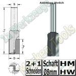 Nutfräser Ø 6mm x16x52mm Z2+1 HM HW Schaft 8mm