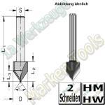 V-Nutfräser Schriftenfräser Gravierfräser 60° Ø 19,05mm x20,6x52,6mm Z2 HM HW Schaft 12mm