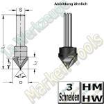 V-Nutfräser Schriftenfräser Gravierfräser 90° Ø 14mm x12,5x62,5mm Z3 HM HW Schaft 8mm