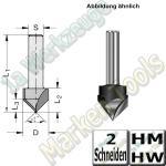 V-Nutfräser Schriftenfräser Gravierfräser 90° Ø 14mm x13,5x43,5mm Z2 HM HW Schaft 6mm