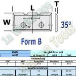 Wendeplatten Wendemesser 16 x 7 x 1,5 mm a=7mm Form B 2Nuten für Schloßkastenfräser HM HW 10 Stück T04F