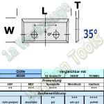 Wendeplatten Wendemesser 23 x 7 x 1.5mm Z4 35°  2-Loch HM HW MG06 10 Stück
