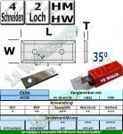 Wendeplatten Wendemesser 29.5 x 7 x 1.5 Z4 35° 2-Loch a=16 HM HW 10 Stück