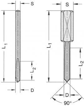 Ø 2x12x38mm Stiftbohrer VHW Z1 S=2