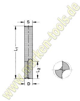 Ø 5mm x12x48mm Z2 VHM Oberfräser VHW S=5mm