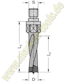 Ø 8mm x40x55mm HM Dübelbohrer Dübelochbohrer HW Gewinde M8 P9x4mm L.