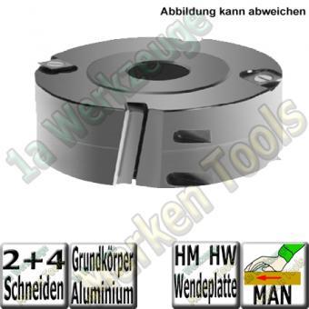 Flury Wendeplatten-Falzmesserkopf ziehender Schnitt Ø125mm x60x30mm Z2+V4 Alu