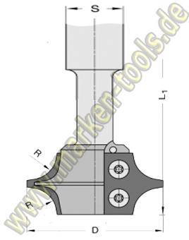 45° HM Wendeplatten Abrund-Fasefräser HW S=20 Gr.2 T2