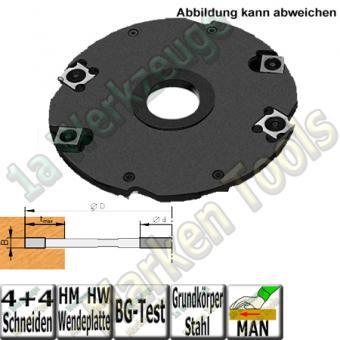 4mm Wendeplatten Nutfräser Z4 V4 Handvorschub Ø125 x4mm x30mm Stahl