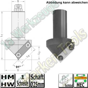 91° HM HW-Wpl-Fase-Folding-Ziernutfräser Z1 S=25mm