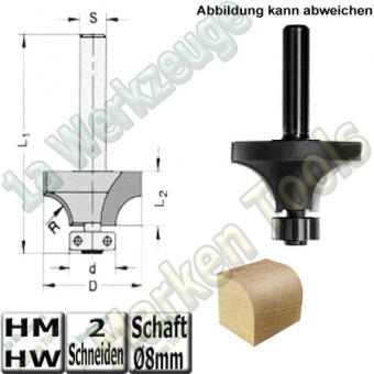 Abrundfräser R3mm Ø14,3mm HM HW d6,35mm Kugellager Z2 Schaft 8mm