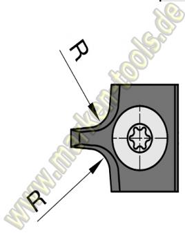 Abrundmesser 15 x 18 x 2 mm, R = 5 mm für Gr.1 T2, VE=2 Stück