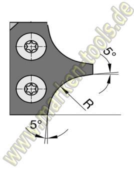 Abrundmesser 30 x 25 x 2 mm, R = 12 mm für Gr.2 T2, VE=2 Stück