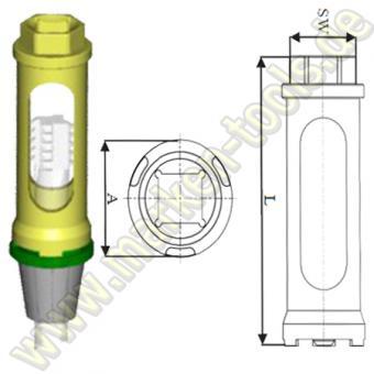Drehmoment Stecknuß OC 25 Zeta A=41mm SW=27 L=110mm für OZ25 Spannzangen