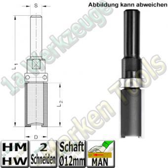 HM Bündigfräser Ø 19 x 50mm Nutzlänge  Schaft Ø 12mm mit Anlauflager Schaftseitig