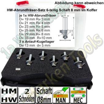 HM HW Abrundfräser-Satz 6-teilig Schaft 8mm in Kunststoffbox PROFIQUALITÄT