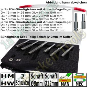 HM HW Bündigfräser-Satz 6-teilig Schaft 8/12mm in Kunststoffbox